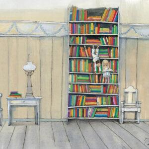 پوستر لذت خواندن در قفسه کتاب - افقی