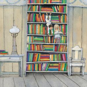 پوستر لذت خواندن در قفسه کتاب - عمودی